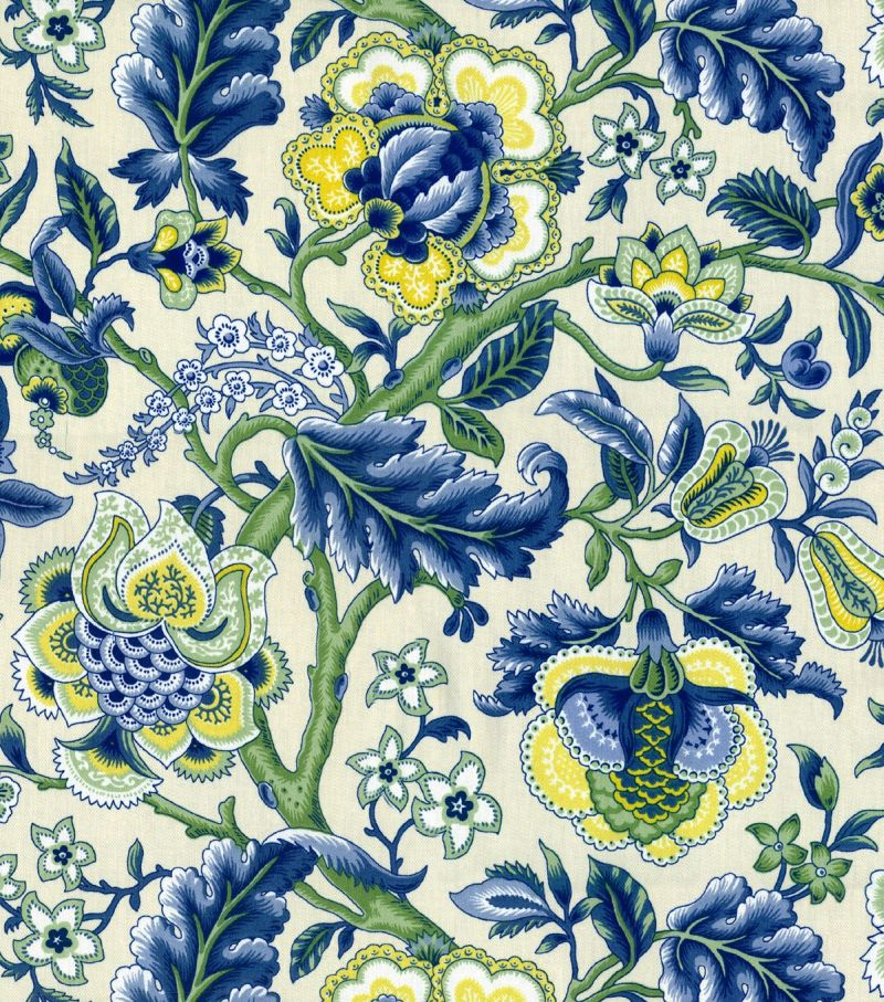 Curtains Ideas bright floral curtains : Waverly IMPERIAL DRESS/TW BLUE 669974 - DecorativeFabricsDirect.com